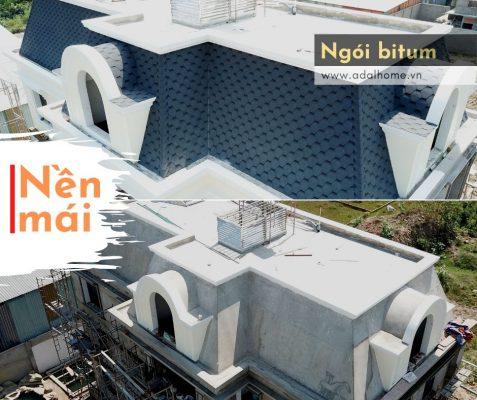 Hình – Nền mái bê tông chuẩn bị lợp ngói lợp nhà bằng bitum
