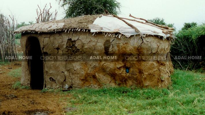 Hình 2 - Mái nhà dùng bùn và rơm tại Châu Phi