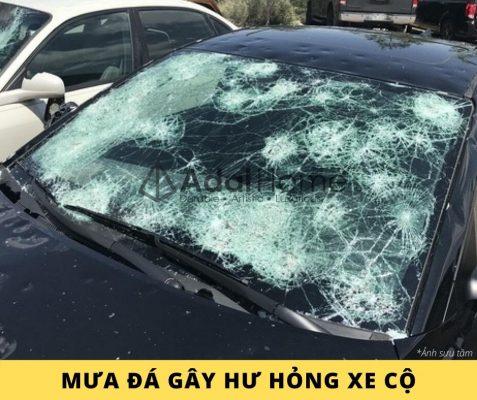 Hình – Mưa đá gây hư hỏng xe cộ