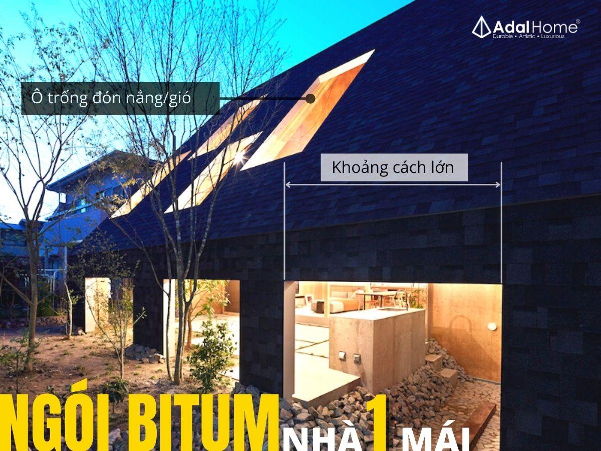 Kết hợp ngói bitum phủ đá và nhà một mái