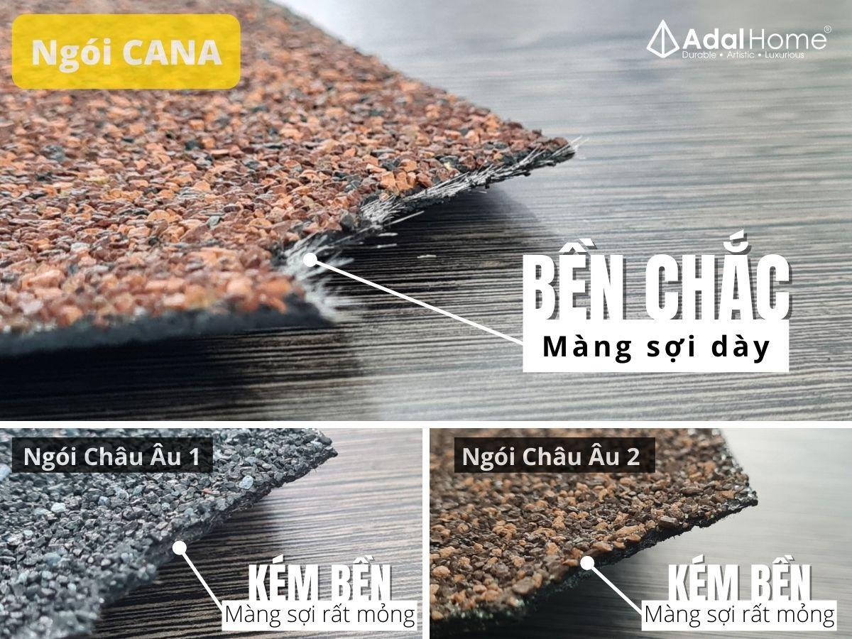 So sánh ngói bitum phủ đá CANA và các sản phẩm khác