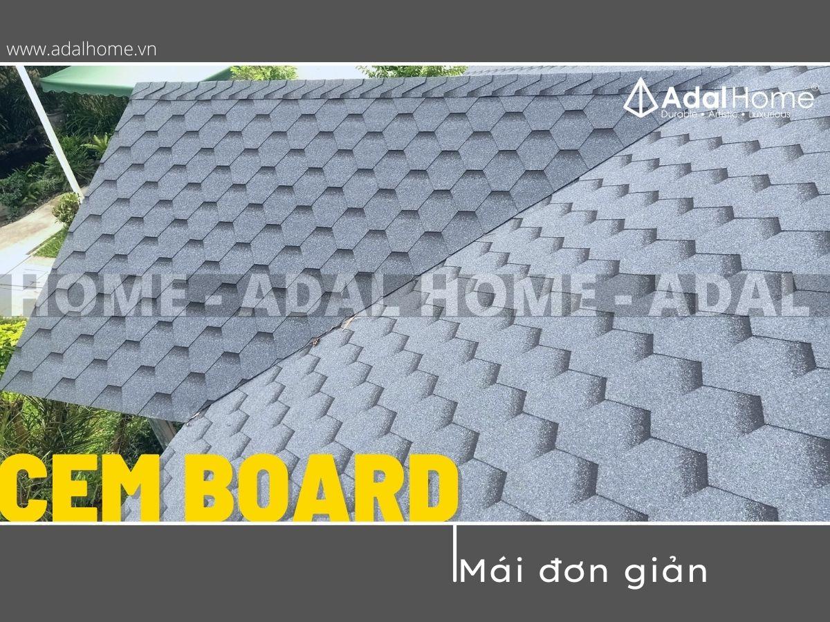 Kết cấu mái ngói cemboard dùng cho bitum phủ đá có cấu tạo đơn giản