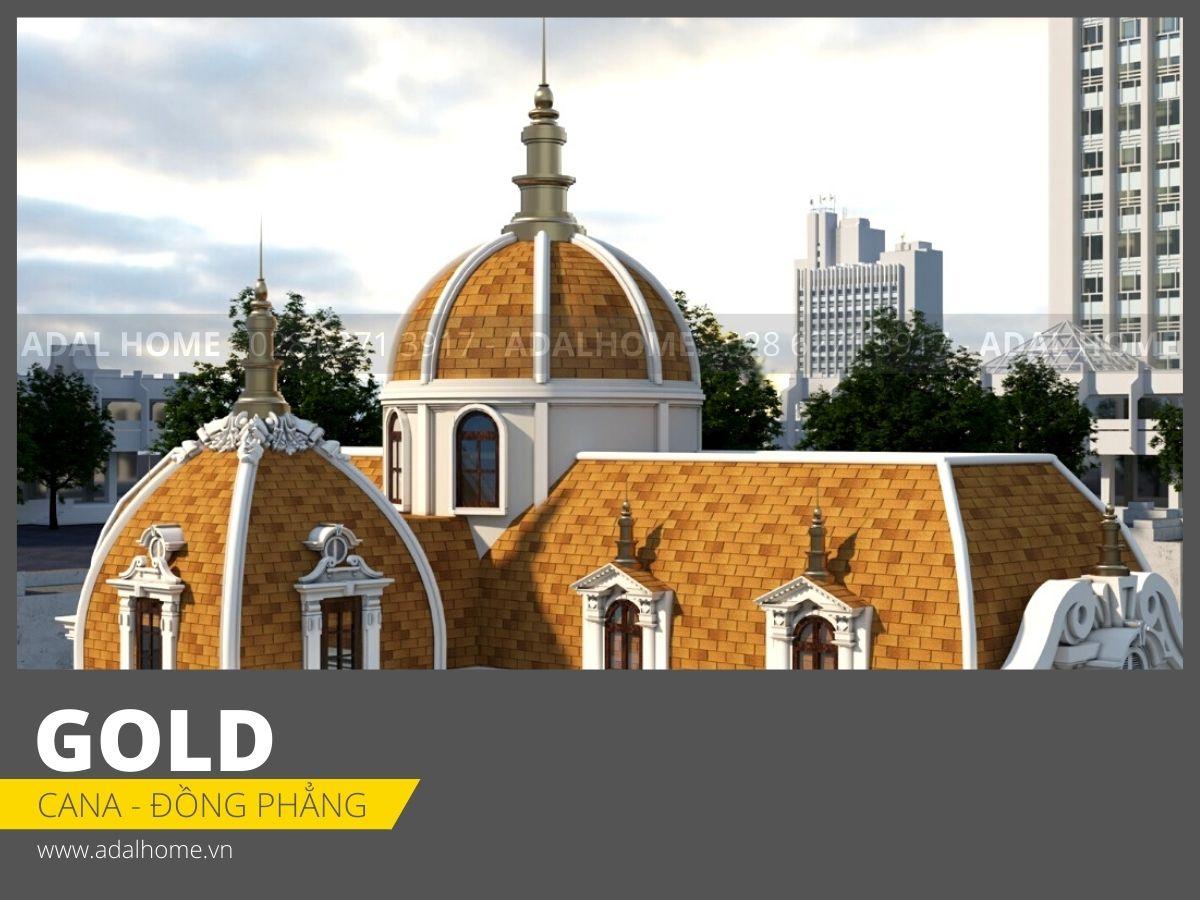 Ngói bitum phủ đá CANA - Đa tầng Công trình màu Gold