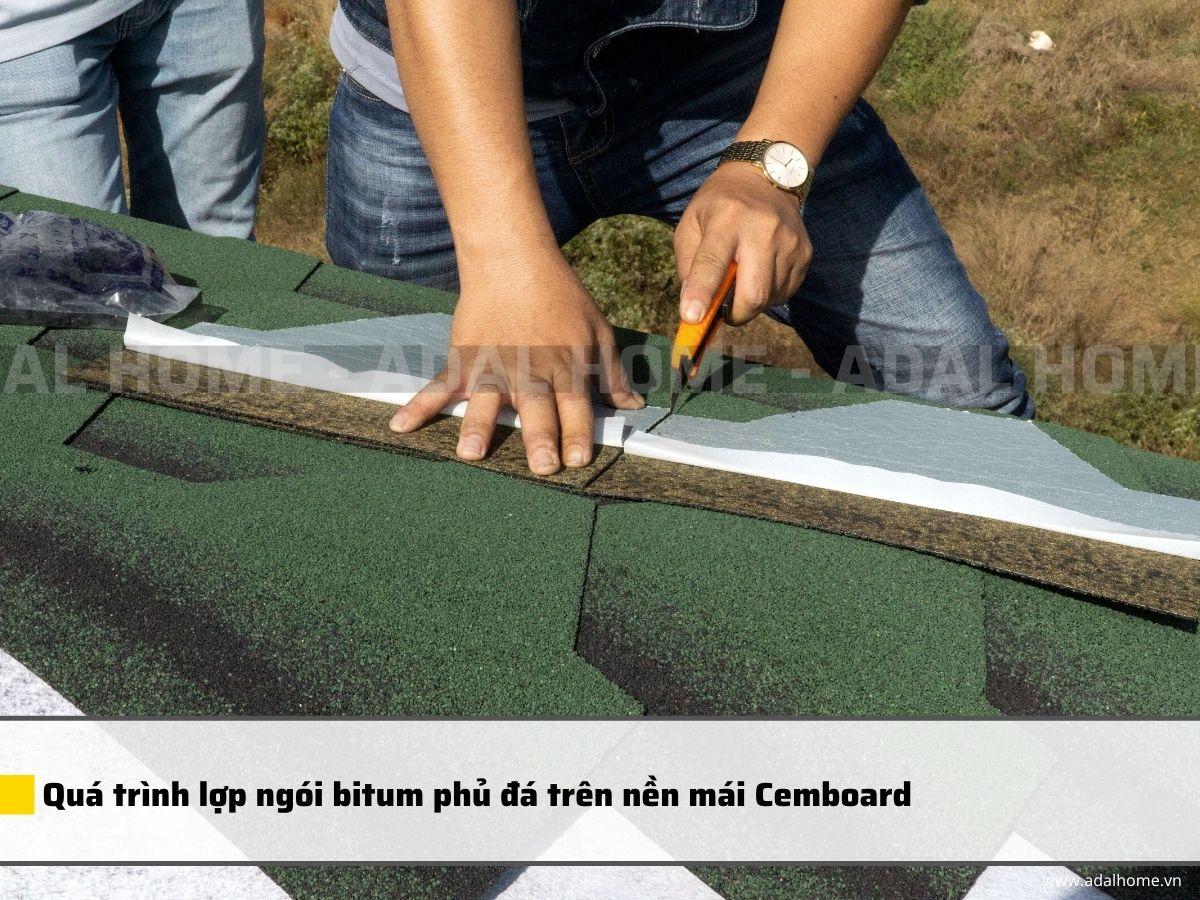 Quá trình lợp ngói bitum phủ đá trên nền mái Cemboard