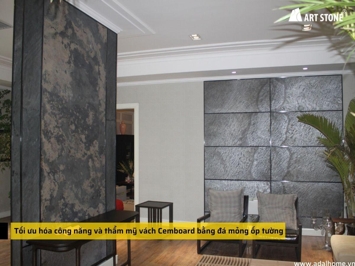 Tối ưu hóa công năng và thẩm mỹ vách Cemboard bằng đá mỏng ốp tường