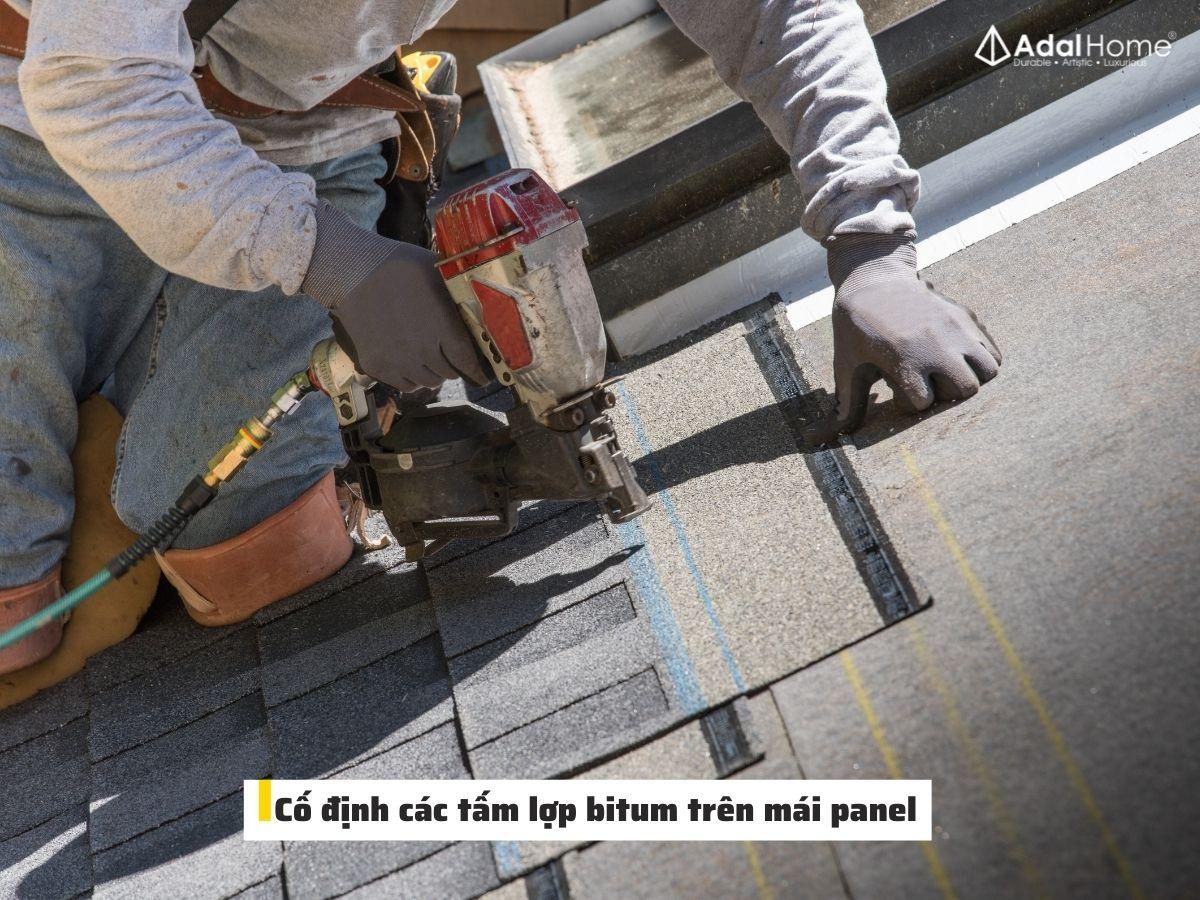 Cố định các tấm lợp bitum trên mái panel