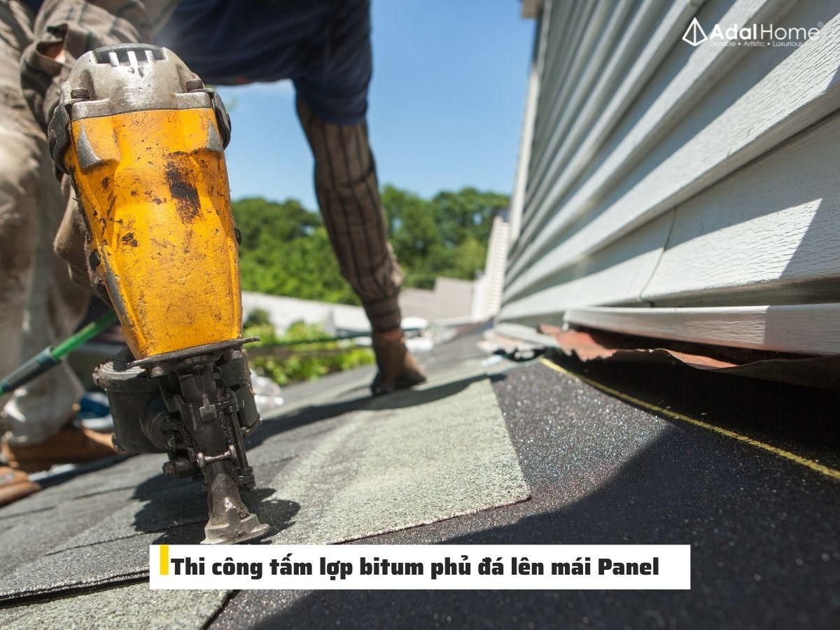 Hướng dẫn thi công nhanh tấm lợp bitum phủ đá lên mái Panel
