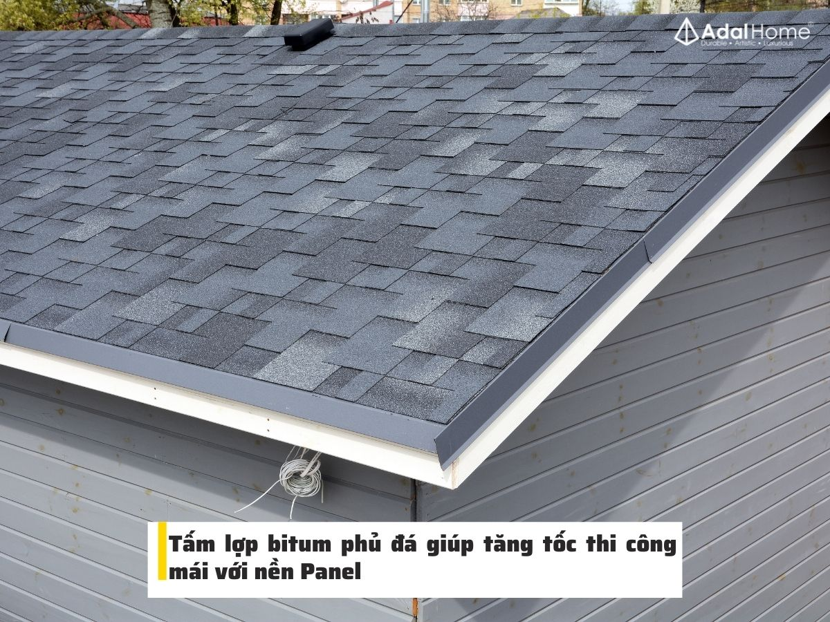 Tăng tốc thi công mái bằng tấm Panel và tấm lợp bitum phủ đá