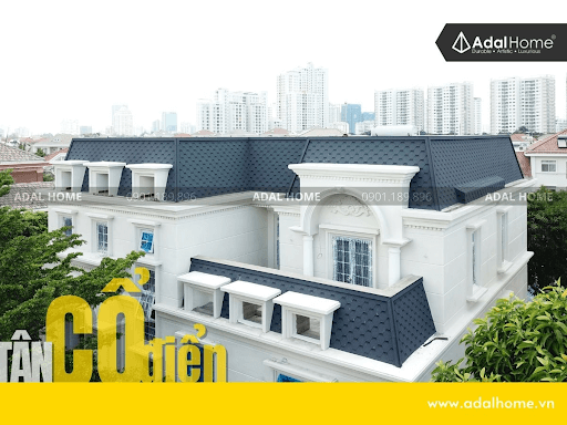 mẫu nhà 2 tầng lợp ngói đẹp kiến trúc tân cổ điển